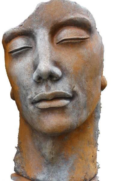 """Gesicht """"Mann"""", inkl. Platte zur Montage, Rosteffekt"""