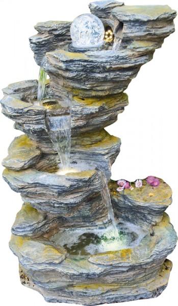 Fudong Schiefer-Wasserfall inkl Pumpe+LED+Glaskugel