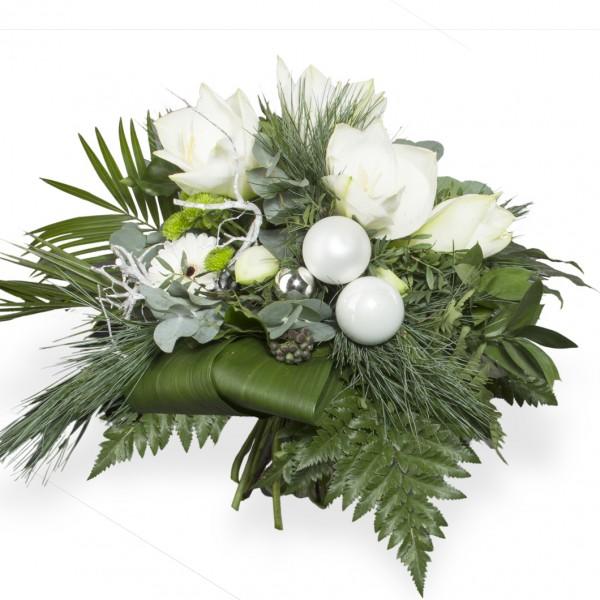 Runder Amaryllisstrauß in elegantem Weiß